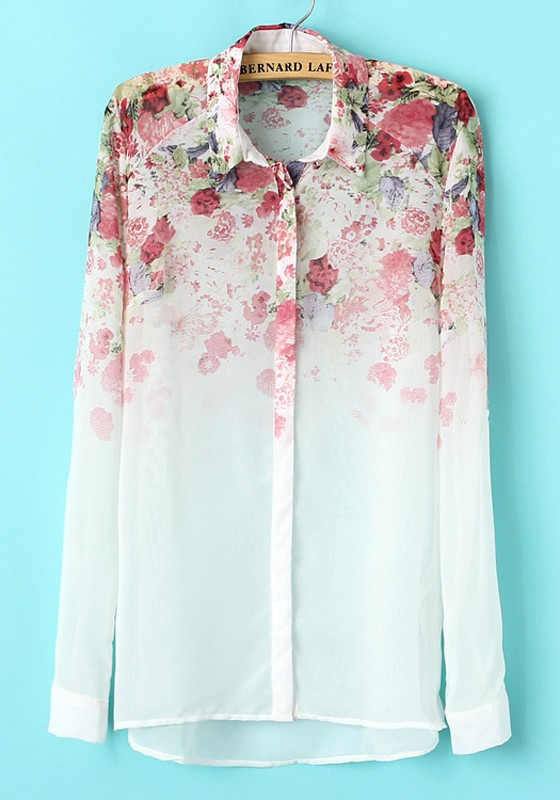 abc1b7f8094825 White Floral Print Long Sleeve Chiffon Blouse - Blouses - Tops