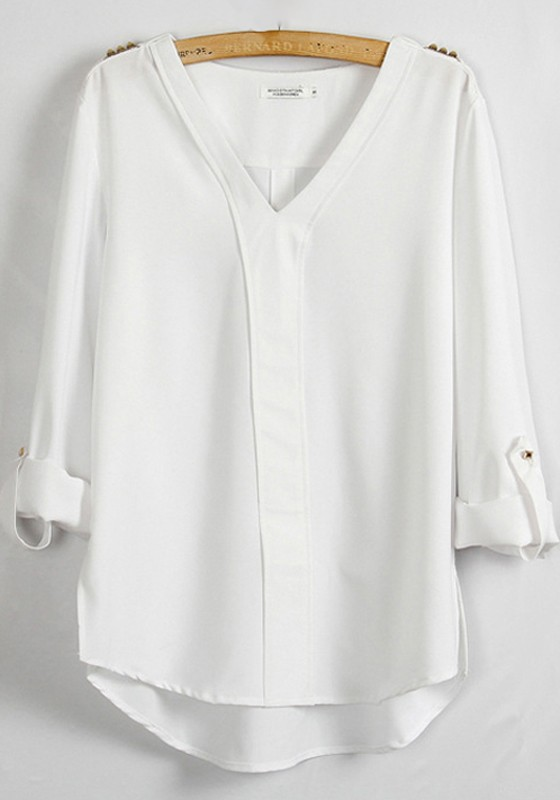 White Plain Epaulet V-neck Long Sleeve Chiffon Blouse - Blouses - Tops