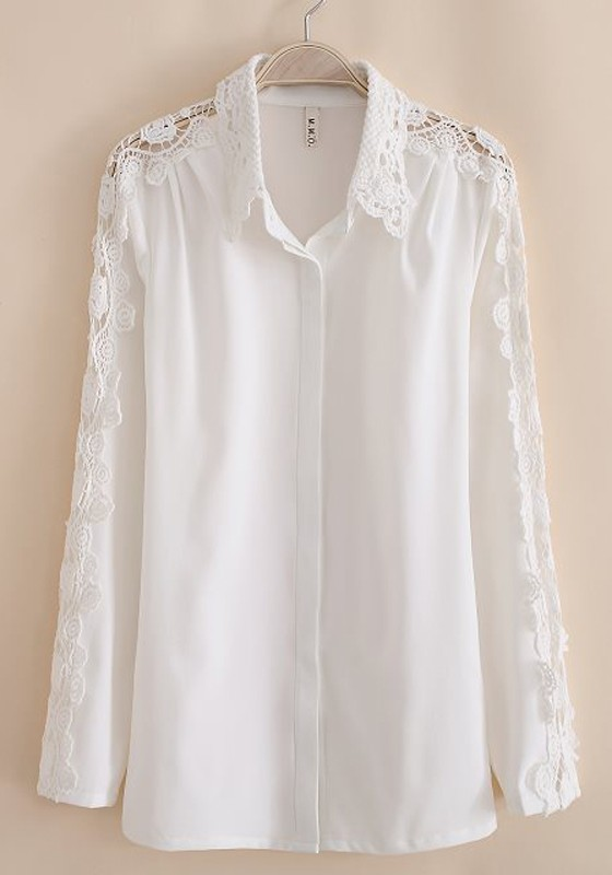 Long Sleeve Cotton White Blouse 42