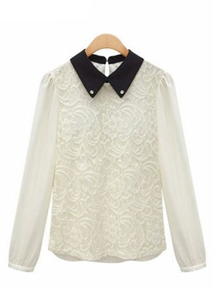 Collection White Long Sleeve Lace Blouse Pictures - Reikian