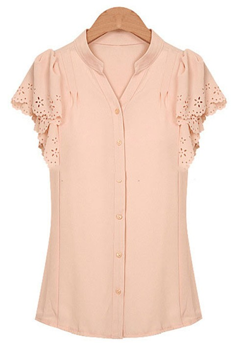 Pink Buttons Short Sleeve Chiffon Blouse - Blouses - Tops