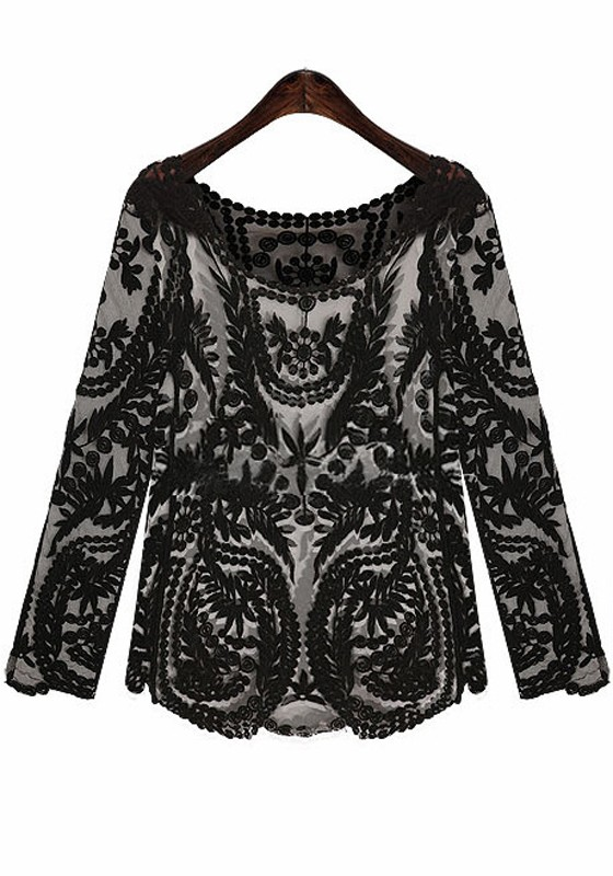 Black Print Embroidery Long Sleeve Loose Lace Blouse - Blouses - Tops