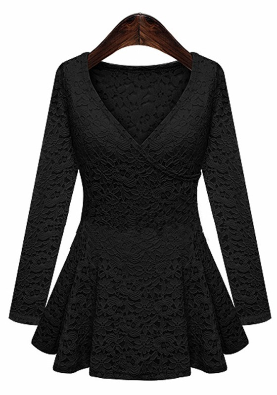 Black V-neck Long Sleeve Wrap Lace Blouse - Blouses - Tops