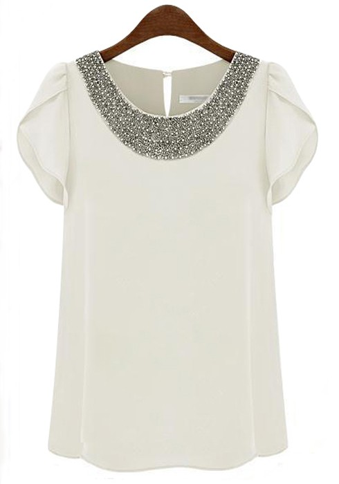 Images of White Blouse Short Sleeve - Reikian