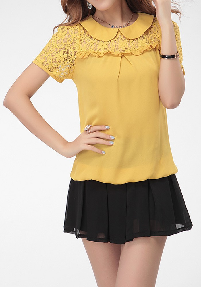 Yellow Short Sleeve Blouse 103