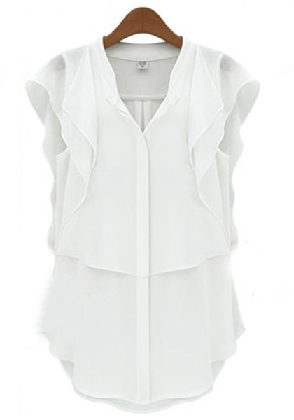 White Short Sleeve Blouse Photo Album - Reikian