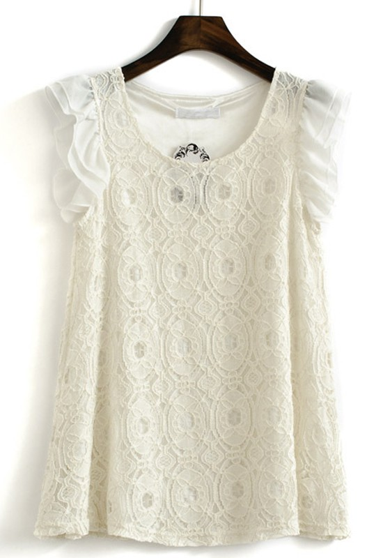 White Round Neck Cap Sleeve Lace Blouse - Blouses - Tops