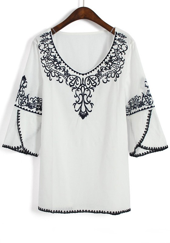White Cotton Blouse With Embroidery 116