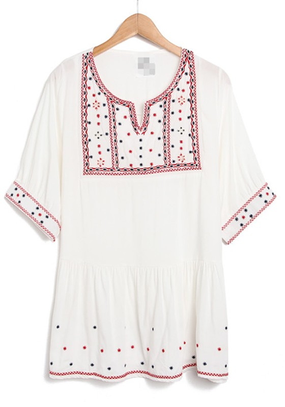 White Cotton Blouse With Embroidery 76