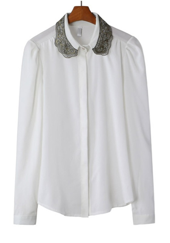 White Chiffon Blouses. Showing 40 of 54 results that match your query. Search Product Result. Product - Women Lace Decorated Long Sleeves Shirt and Blouse White. Product Image. Price $ Product Title. Women Lace Decorated Long Sleeves Shirt and Blouse White. Add To Cart. There is a problem adding to cart. Please try again.