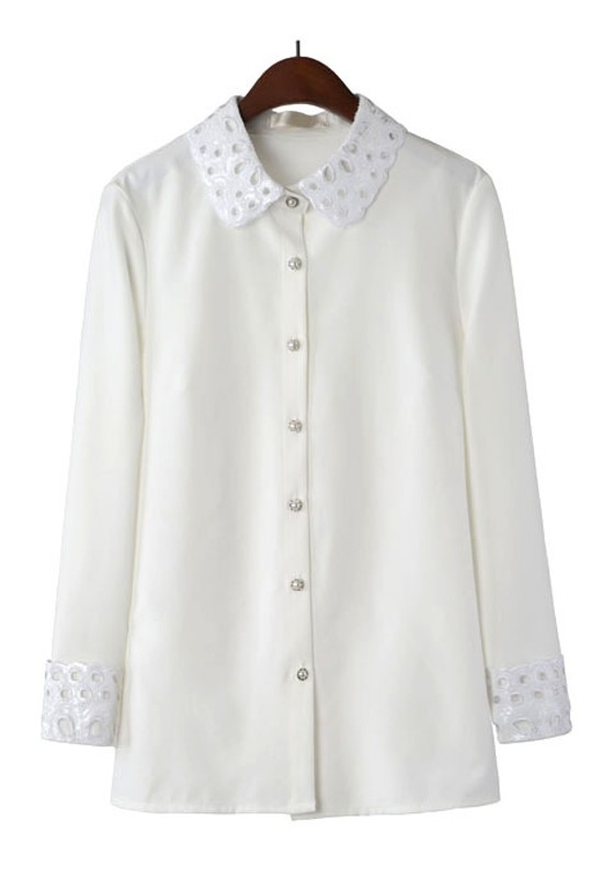 White Long Sleeve Hollow Contrast Lace Chiffon Blouse 19