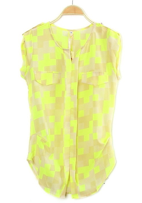 Yellow Plaid Print Collarless Short Sleeve Chiffon Blouse ...