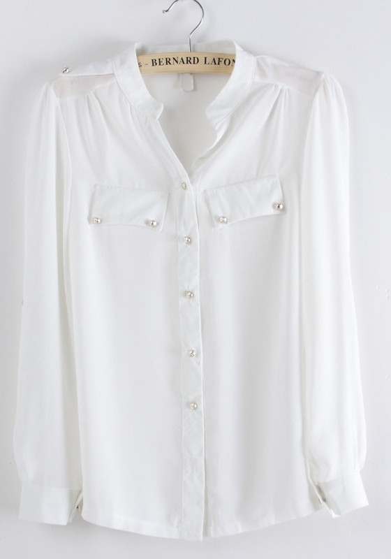 White Chiffon Blouse With Collar 85