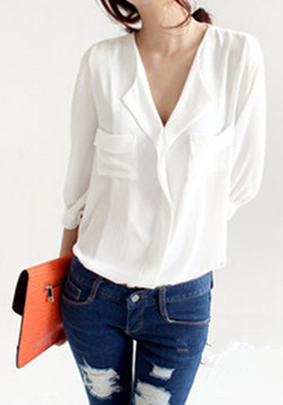 White Pockets Peak Lapel Seven's Sleeve Wrap Chiffon Blouse ...