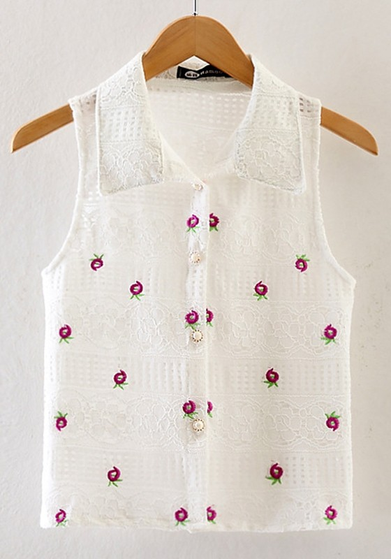 White Small Flowers Embroidery Blouse Blouses Tops