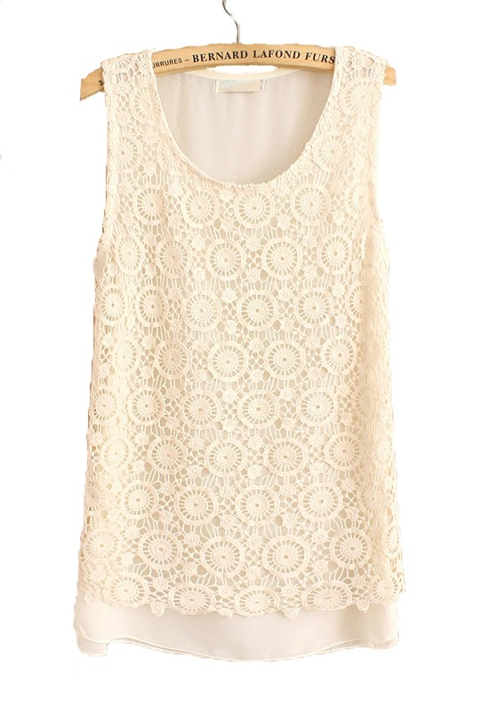 Beige Lace Hollow-out Round Neck Sleeveless Chiffon Blouse ...
