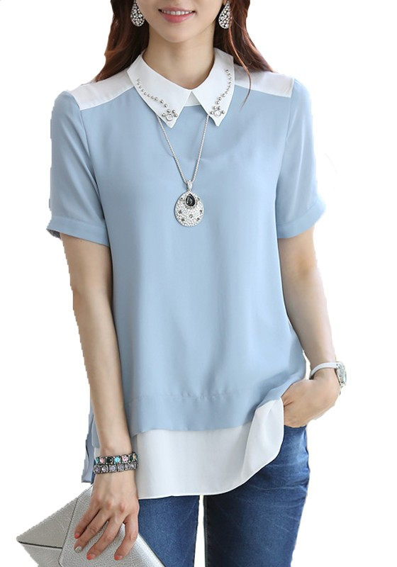 Three Quarter Sleeve Royal Blue Chiffon Blouse on sale only US$ now, buy cheap Three Quarter Sleeve Royal Blue Chiffon Blouse at palmmetrf1.ga