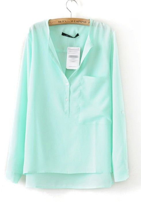Pale Blue Women'S Blouse - Long Blouse With Pants