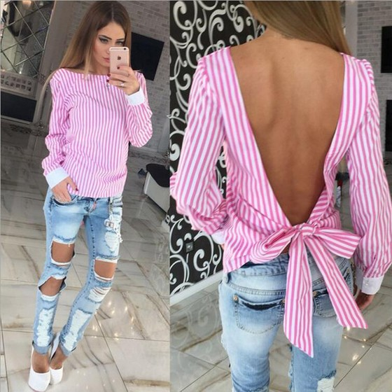 Pink Plain Bow Backless Round Neck Blouse Blouses Tops