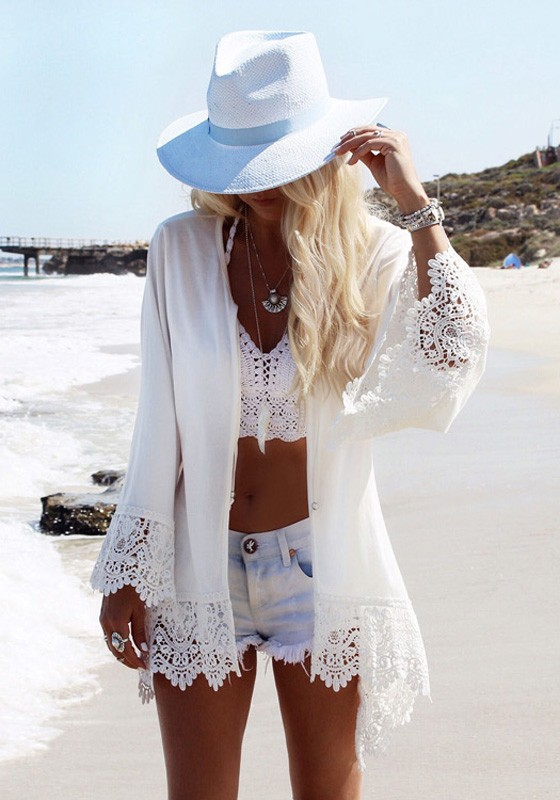 dba13ef4a7 White Eagle Print Lace Fringe Cardigan Bohemia Beach Cover Up Chiffon Kimono  - Blouses - Tops