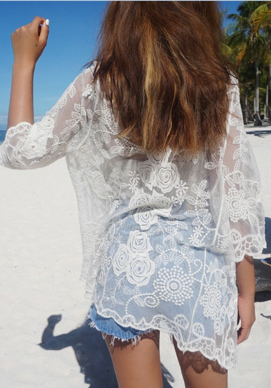 375acc490a White Floral Lace Embroidery Grenadine Beach Party Cover Up Kimono -  Blouses - Tops