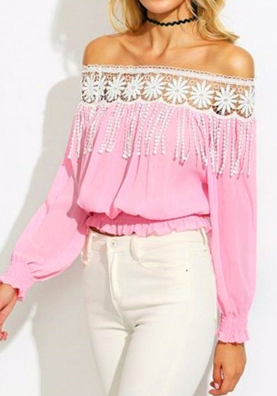 0bc9e9aecd45 Pink-White Patchwork Lace Hollow-out Tassel Pleated Off Shoulder Sexy Blouse