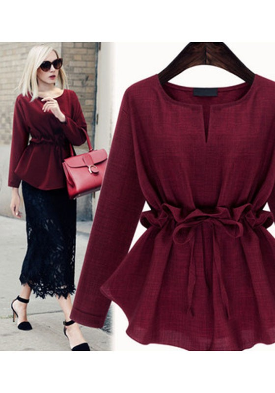 0828f2b4e7f Wine Red Drawstring Peplum Plus Size Round Neck Long Sleeve Blouse - Blouses  - Tops