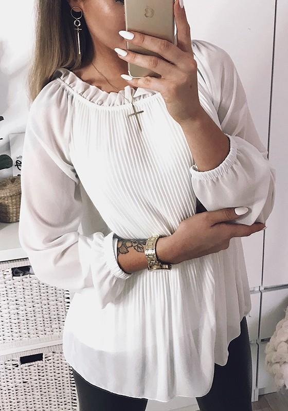 28c7e34855426a Weiße Plissee Langarm Süße Chiffon Bluse Tops T-Shirt Oberteile Günstig  Damen Mode