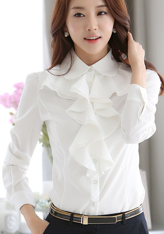 2fa4229bd5a White Ruffle Buttons Peter Pan Collar Long Sleeve Office Worker Blouse