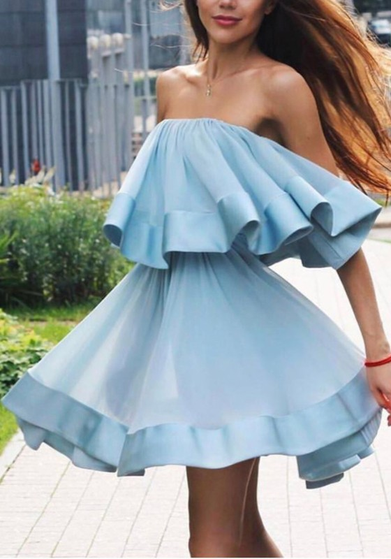 d5ad311fd7 Sky Blue Patchwork Pleated Bandeau Off Shoulder Backless Going out Cute  Blouse - Blouses - Tops