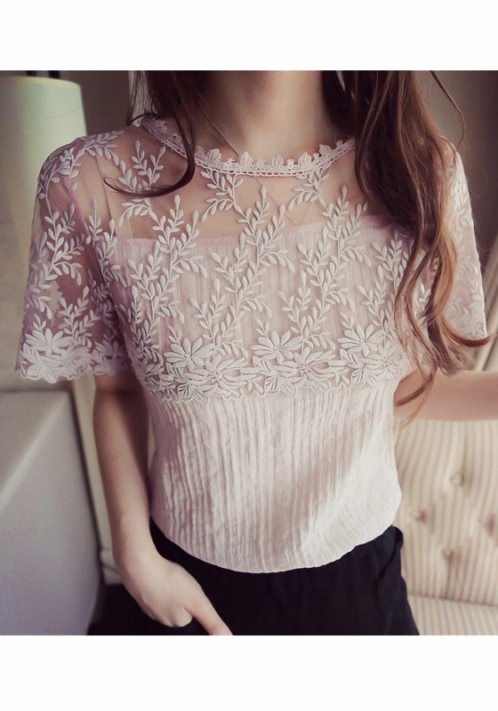 b0bf45b0017cb2 Pink Lace Grenadine Round Neck Going Out Sweet Blouse Blouses Tops.  Gallery. Lyst Zimmermann Mischief Peony ...