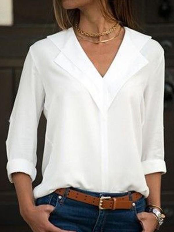 best sneakers 2f9b8 d1697 Weiße Knöpfen V-Ausschnitt Langarm Elegante Bluse Tops Oberteile Günstig  Damen Mode