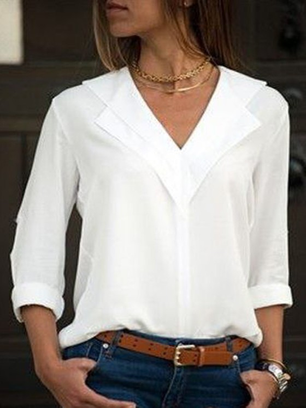 15a141bec79d Weiße Knöpfen V-Ausschnitt Langarm Elegante Bluse Tops Oberteile Günstig  Damen Mode