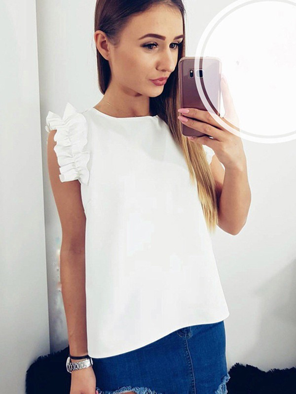 858523e935e89a White Ruffle Short Sleeve Round Neck Sweet Going out Blouse - Blouses - Tops