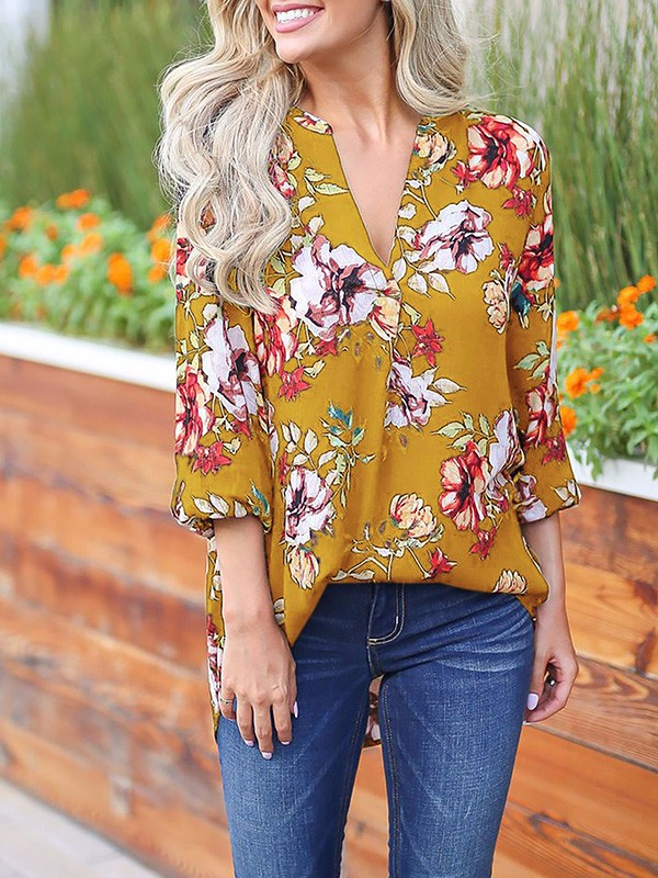 e41fcdd8693486 Yellow Floral Print 3/4 Sleeve Party Going out Blouse - Blouses - Tops