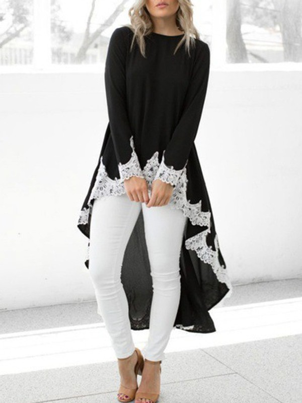 9ee5bab4fc28a8 Black Patchwork Lace High-low Round Neck Long Sleeve Blouse - Blouses - Tops