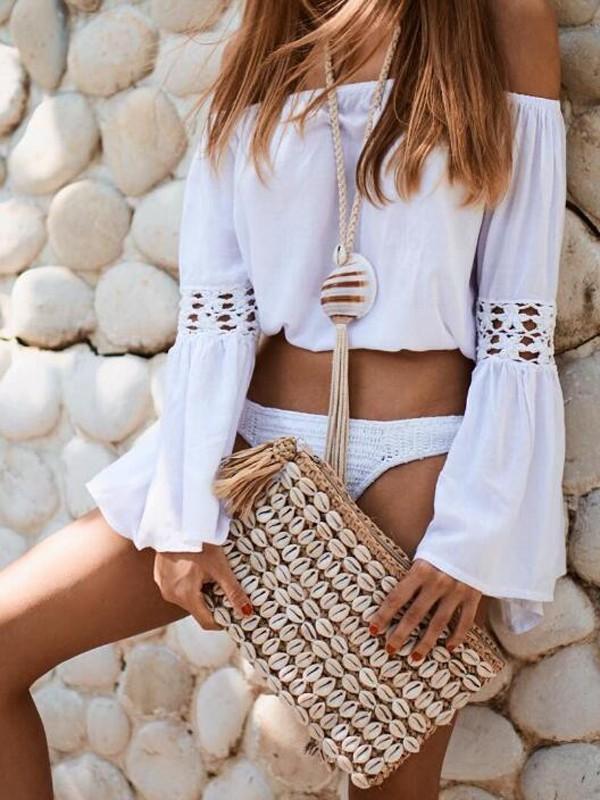 d5899267cd04a White Patchwork Lace Off Shoulder Bikini Cover Up Chiffon Beach Blouse -  Blouses - Tops