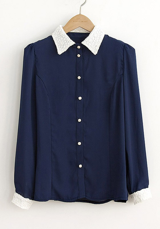 Images of Navy Blue Blouses - Reikian