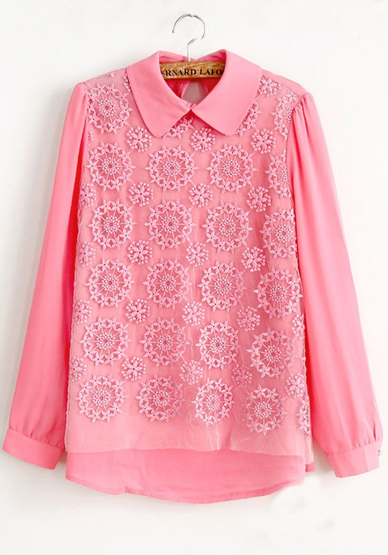 Pink flower print hollow out long sleeve chiffon blouse blouses tops pink flower print hollow out long sleeve chiffon blouse mightylinksfo