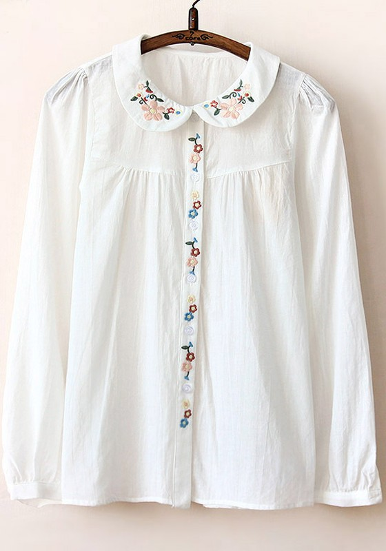 white plain embroidery peter pan collar cotton blouse