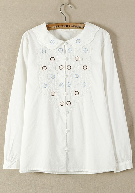 White Cotton Blouse With Embroidery 57