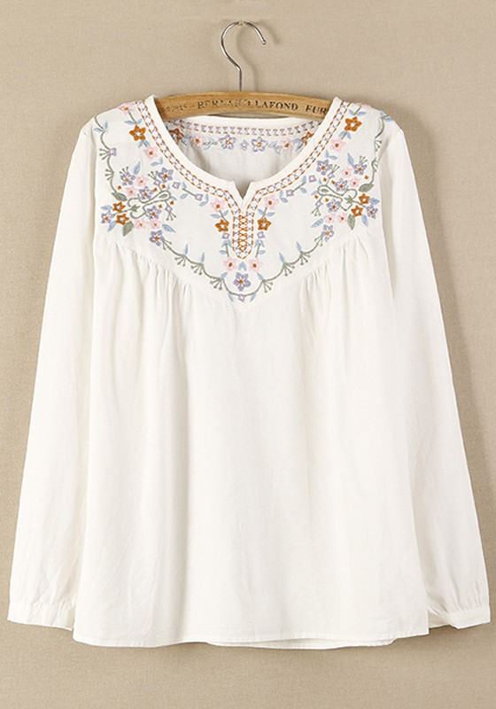 White Cotton Blouse With Embroidery 55
