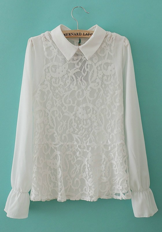 White Long Sleeve Lace Blouse - Long Blouse With Pants