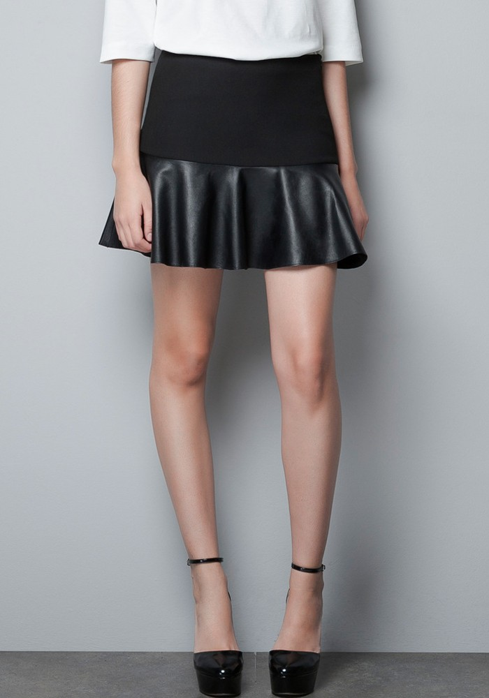 black pleated above knee pu leather skirt skirts bottoms