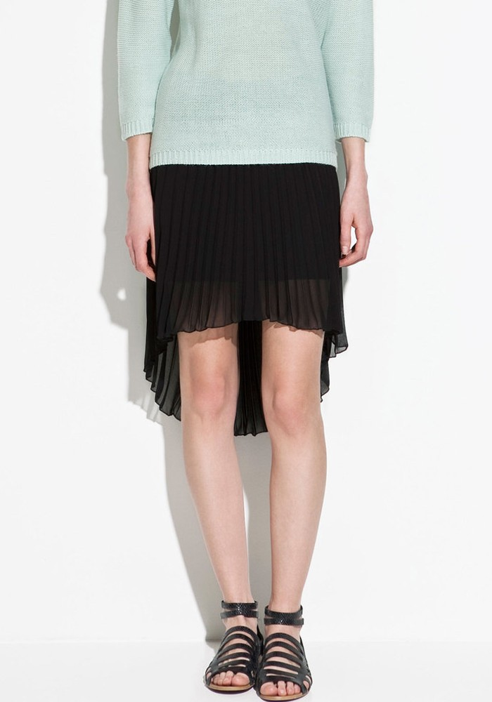 black swallowtail below knee chiffon skirt skirts