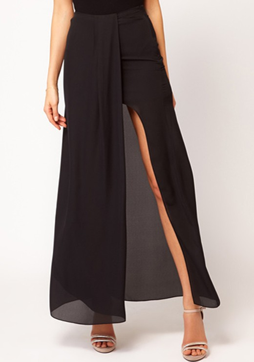 Black Mid Waist Ankle Straight Chiffon Skirt - Skirts - Bottoms