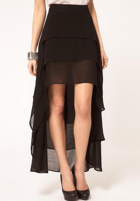 Black Plain Elastic Waist High-Low Loose Chiffon Skirt - Skirts ...