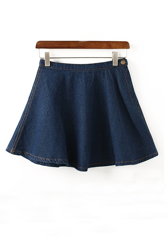Dark Blue Plain Buttons Above Knee Denim Skirt - Skirts - Bottoms