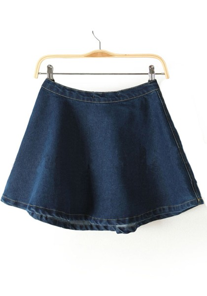 Dark Blue Button Fly Zipper Denim Skirt - Skirts - Bottoms