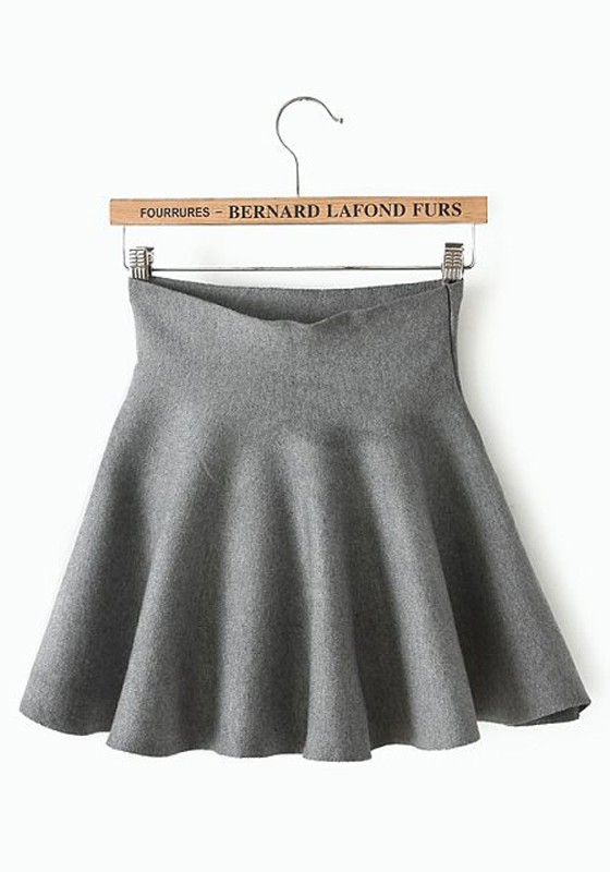 Grey Plain High Waist Loose Cotton Blend Skirt - Skirts - Bottoms